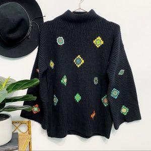 KENZO x H&M Lambswool Mockneck Appliqué Sweater